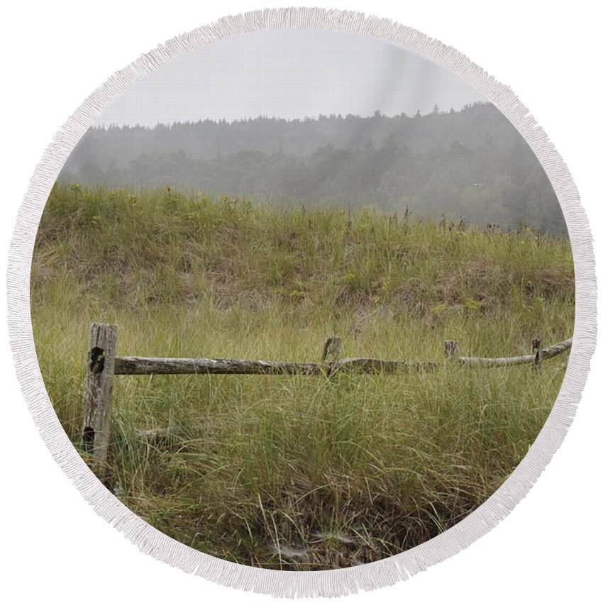 Fence Round Beach Towel featuring the photograph Split Rail Reverie by Rich Bodane