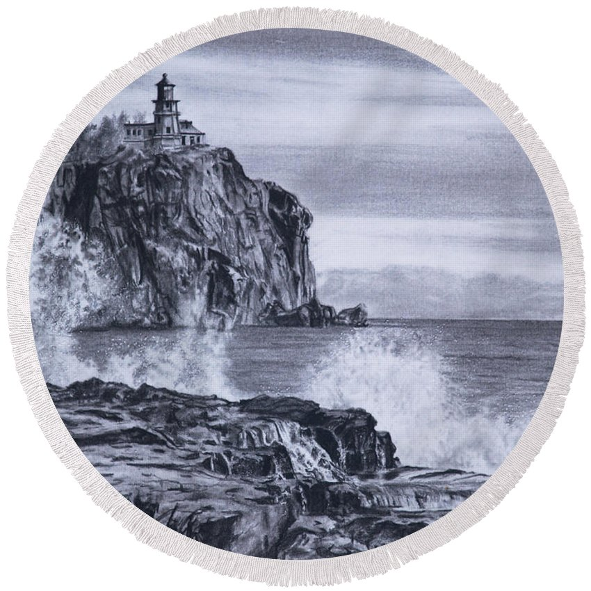 Lighthouse Round Beach Towel featuring the drawing Split Rock by Vicky Path