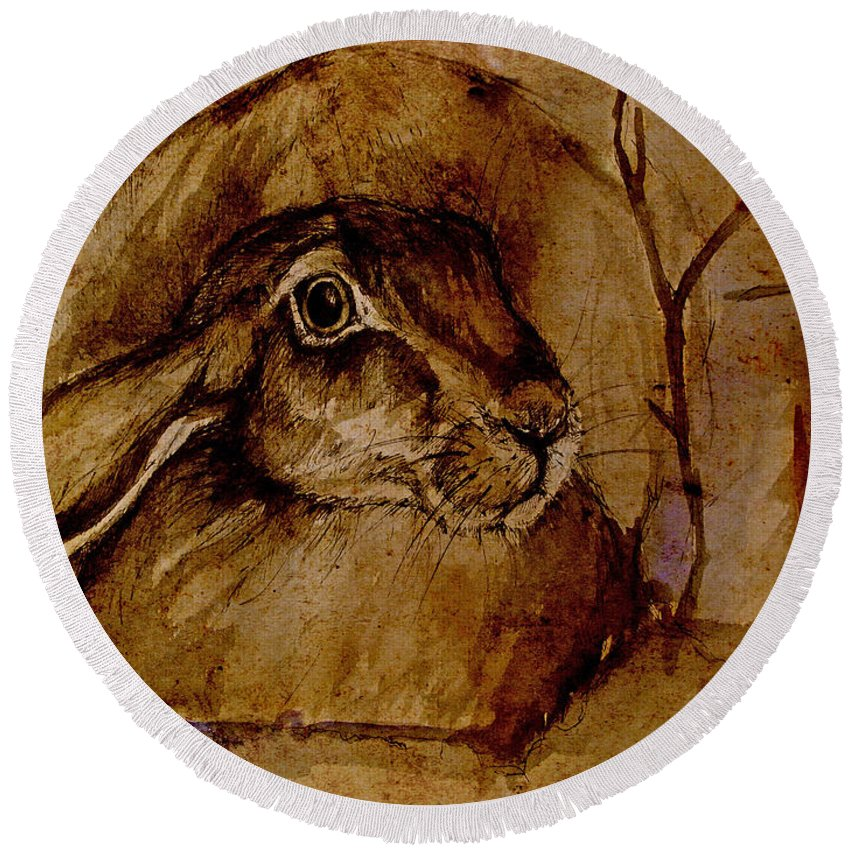 Hare Round Beach Towel featuring the painting Spooked Hare by Angel Ciesniarska