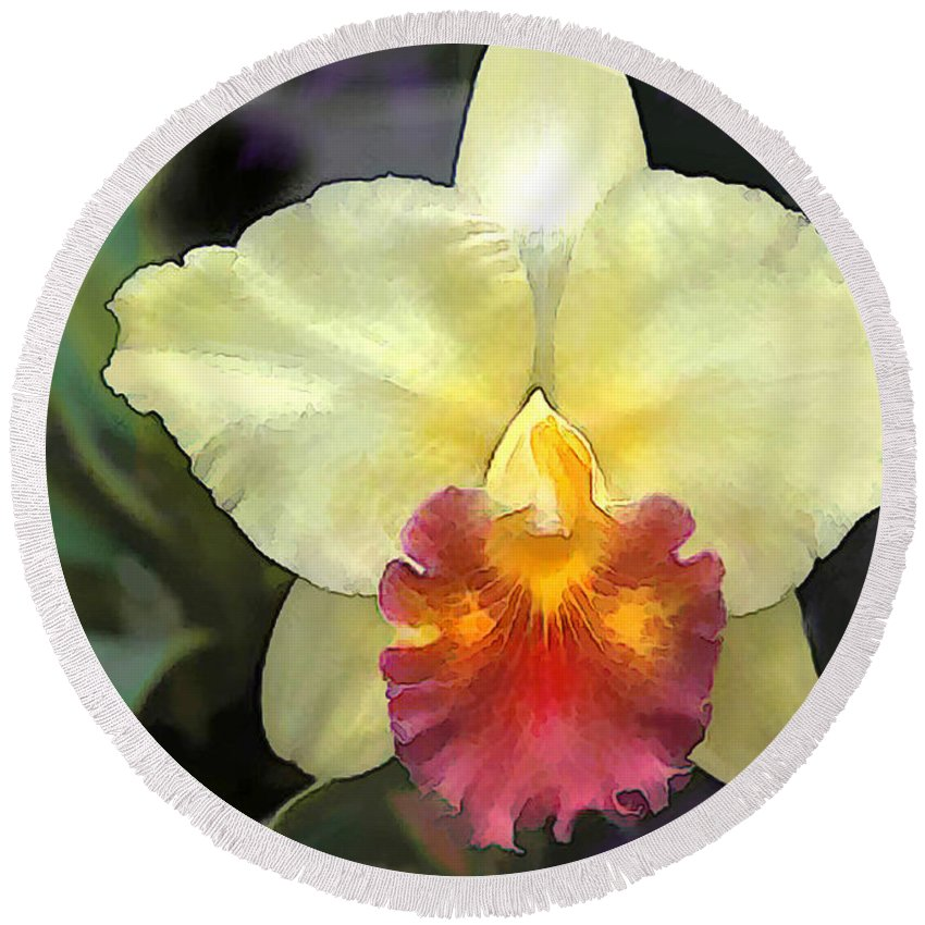 Orchid Round Beach Towel featuring the painting Spot Of Sunshine In The Garden by Elaine Plesser