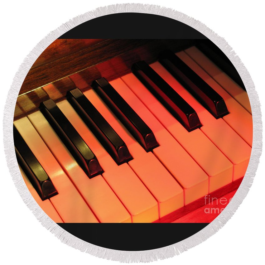 Piano Round Beach Towel featuring the photograph Spotlight On Piano by Ann Horn