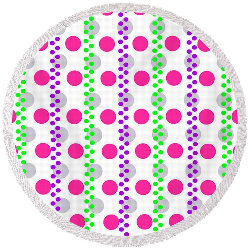 Digital Round Beach Towel featuring the digital art Spotty Stripe by Louisa Hereford