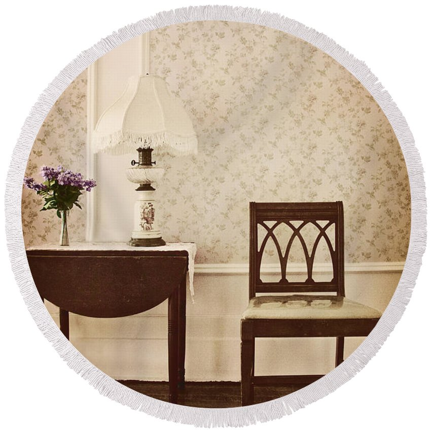 Chair; Table; Inside; Seat; Indoors; Empty; Floral Design; Alone; Brown; One; Interior; Still Life; House; Home; Wall Paper; Pretty; Wood; Floor; Runner; Side; Table; Lamp; Shade; Vase; Flowers; Lilacs Round Beach Towel featuring the photograph Sprig Of Lilacs by Margie Hurwich