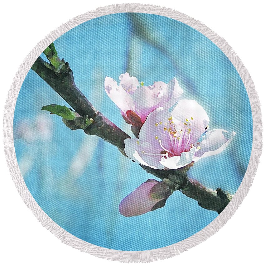 Spring Round Beach Towel featuring the photograph Spring Blossom by Jocelyn Friis