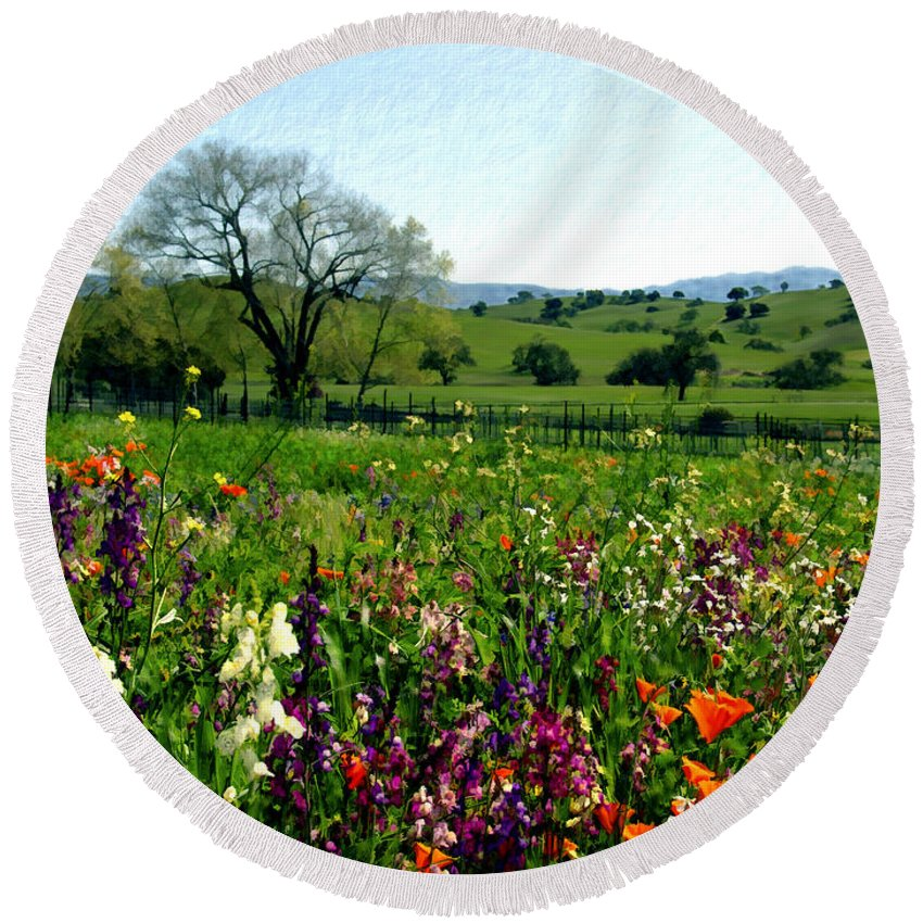 Flowers Round Beach Towel featuring the photograph Spring Bouquet At Rusack Vineyards by Kurt Van Wagner