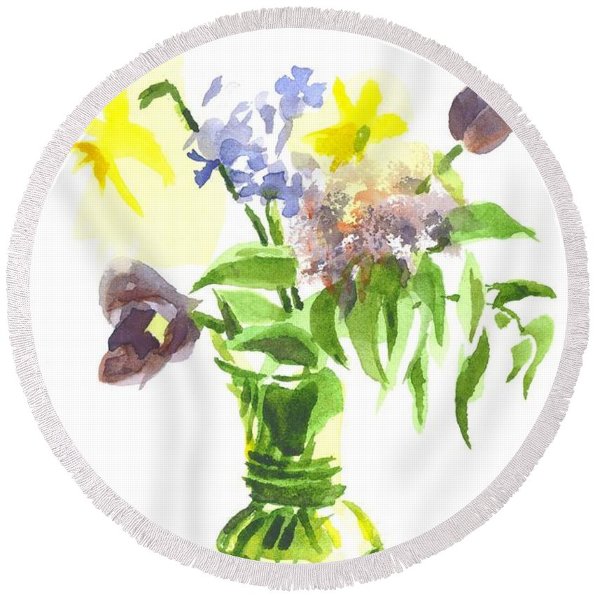 Spring Bouquet Iii Round Beach Towel featuring the painting Spring Bouquet IIi by Kip DeVore