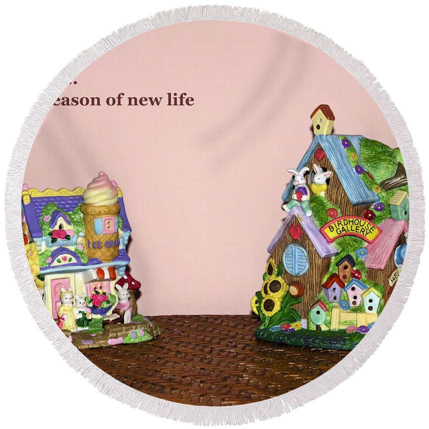 Ceramic Spring Decorations; Rabbit Village; Holiday; Ice Cream Shop; Birdhouse Gallery; Easter Round Beach Towel featuring the photograph Spring Bunnies by Sally Weigand