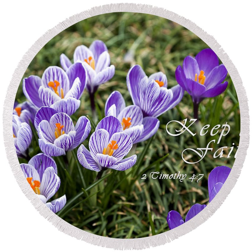 Crocus Round Beach Towel featuring the photograph Spring Crocus With Scripture by Jill Lang