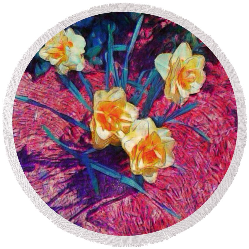 Sharkcrossing Round Beach Towel featuring the painting Spring Daffodils On Red - Horizontal by Lyn Voytershark