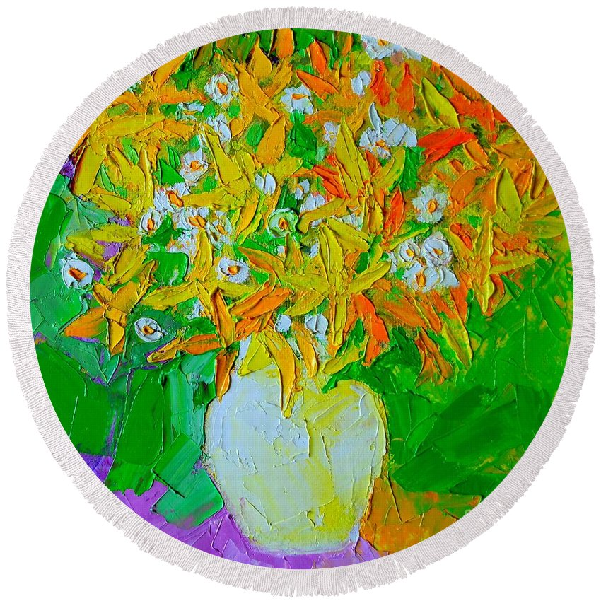 Forsythia Round Beach Towel featuring the painting Spring Flowers by Ana Maria Edulescu