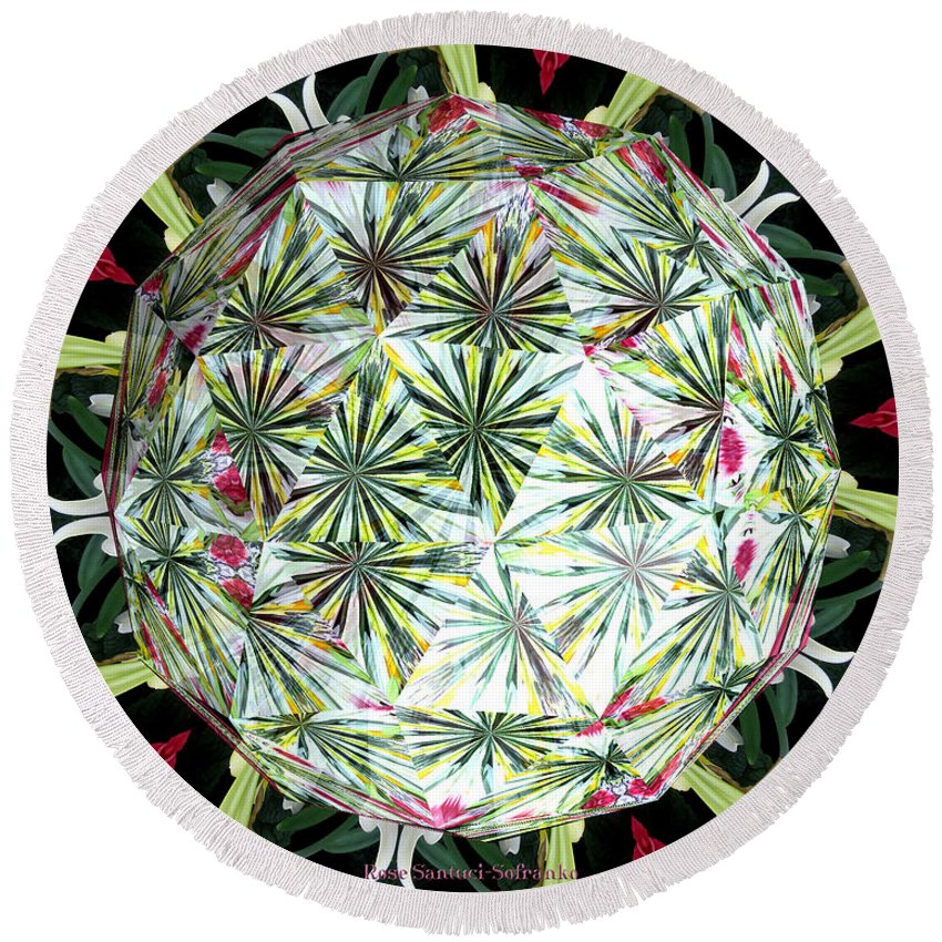 Hydrangeas Round Beach Towel featuring the photograph Spring Flowers Kaleidoscope Under Glass by Rose Santuci-Sofranko