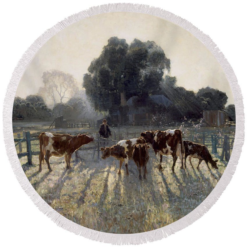 Elioth Gruner Round Beach Towel featuring the painting Spring Frost by Elioth Gruner
