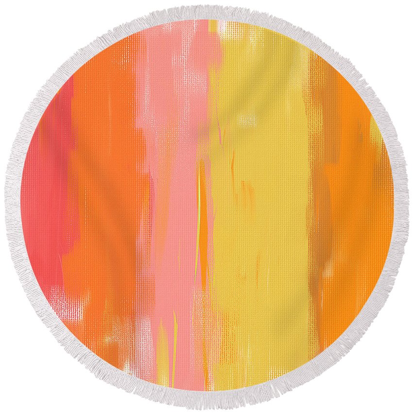 Peach Round Beach Towel featuring the painting Spring Garden by Lourry Legarde