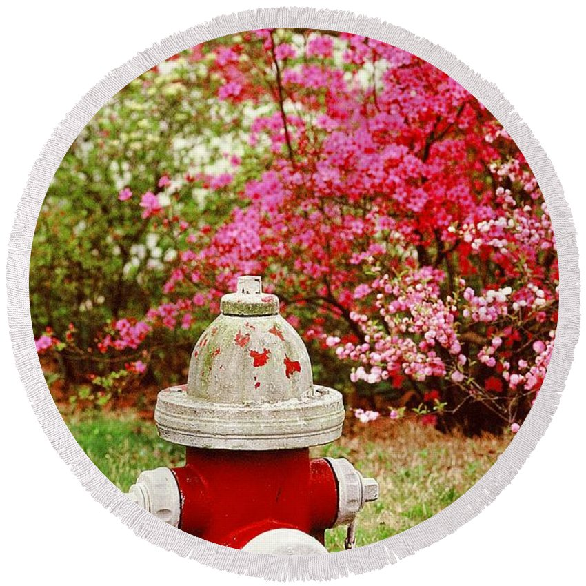 Fine Art Round Beach Towel featuring the photograph Spring Hydrant by Rodney Lee Williams