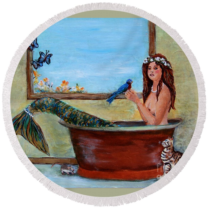 Mermaid Round Beach Towel featuring the painting Spring Mermaid by Linda Queally