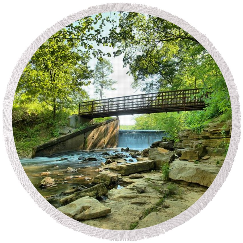 Spring Mill State Park Round Beach Towel featuring the photograph Spring Mill Bridge by Adam Jewell