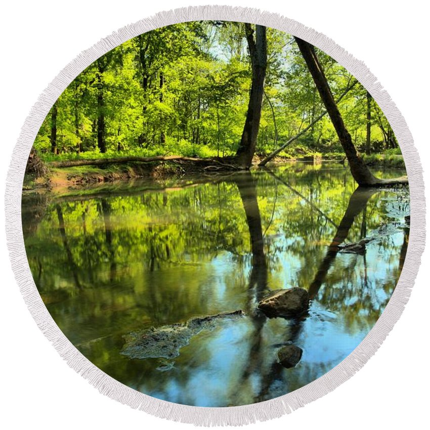 Spring Mill State Park Round Beach Towel featuring the photograph Spring Mill Reflections by Adam Jewell