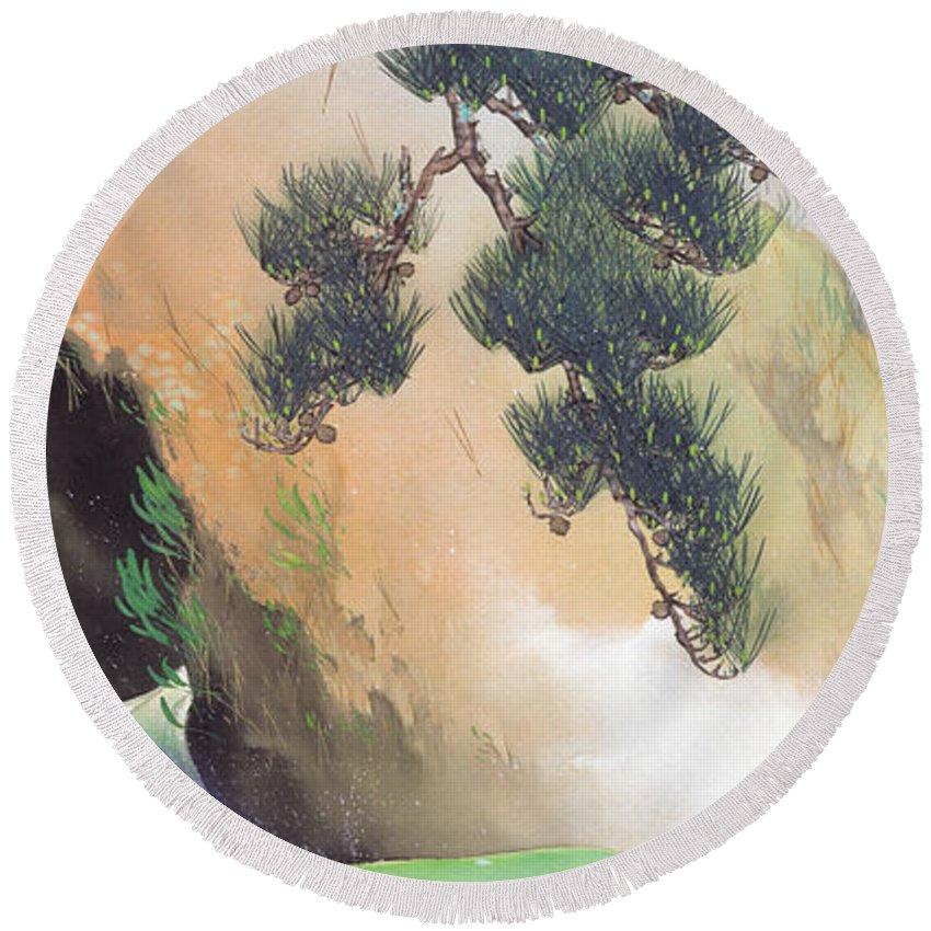 Yamamoto Shunkyo Round Beach Towel featuring the painting Spring Of Mountain by Yamamoto Shunkyo