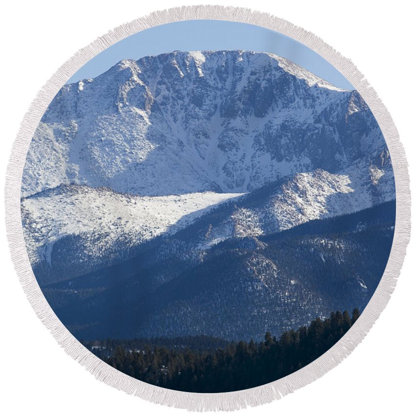 Colorado Springs Round Beach Towel featuring the photograph Spring Peak by Steve Krull
