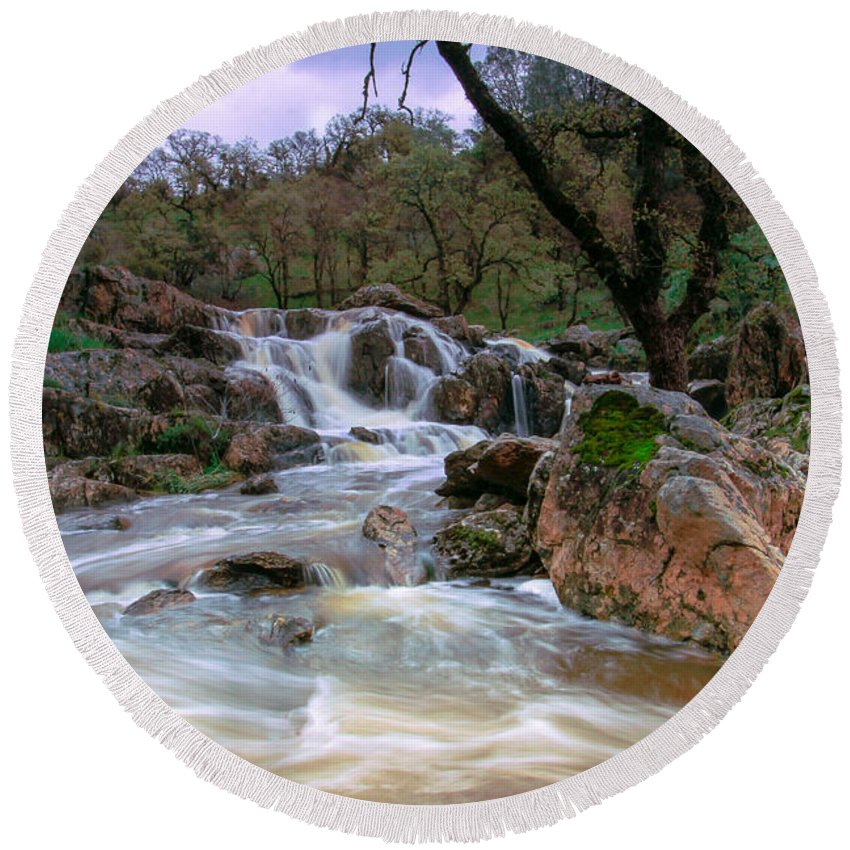 Waterfalls Round Beach Towel featuring the photograph Spring Run Off by Mark Robert Bein
