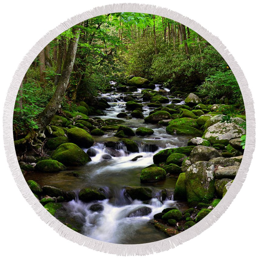 Smoky Mountains Round Beach Towel featuring the photograph Spring Runoff by David Lee Thompson