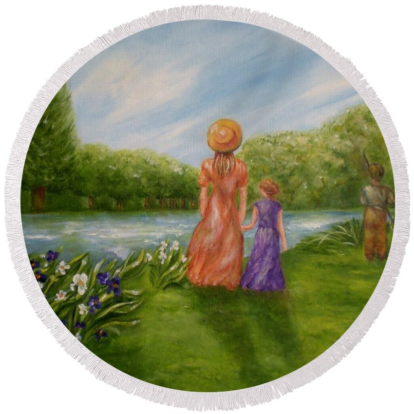 Lake Round Beach Towel featuring the photograph Spring Serenity by Graciela Castro