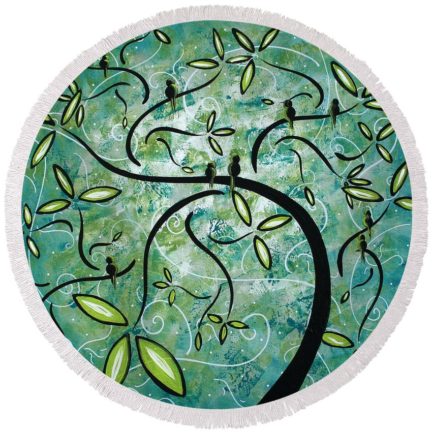 Wall Round Beach Towel featuring the painting Spring Shine By Madart by Megan Duncanson