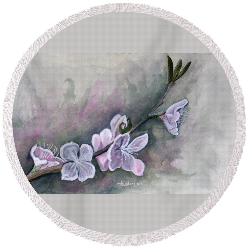 Rick Huotari Round Beach Towel featuring the painting Spring Splendor by Rick Huotari