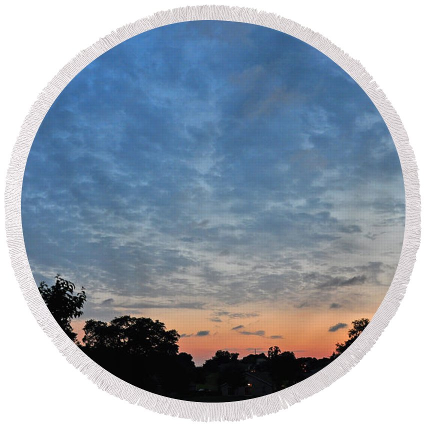 Landscapes Round Beach Towel featuring the photograph Spring Sunset by Deborah Good