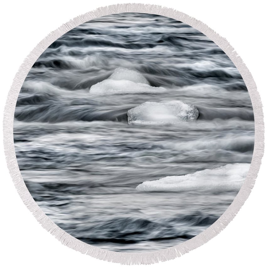 River Round Beach Towel featuring the photograph Spring Thaw by Bill Wakeley