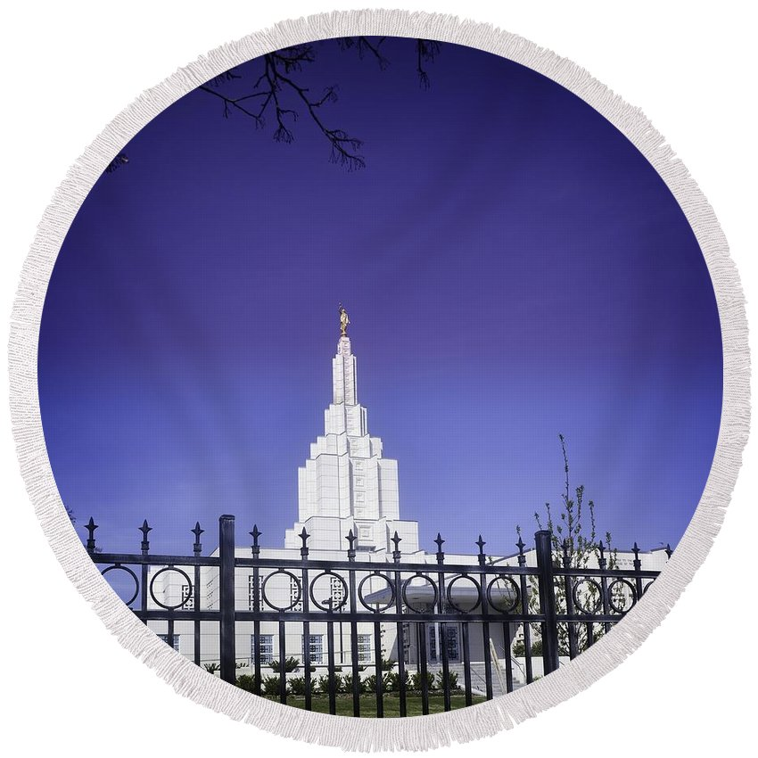 Idaho Falls Round Beach Towel featuring the photograph Spring Time At The Idaho Falls Temple by Image Takers Photography LLC - Carol Haddon