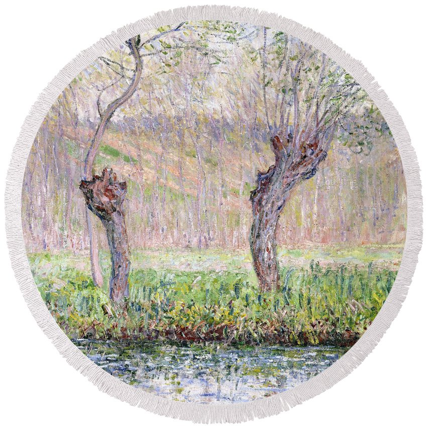 Monet Round Beach Towel featuring the painting Spring Willows by Claude Monet