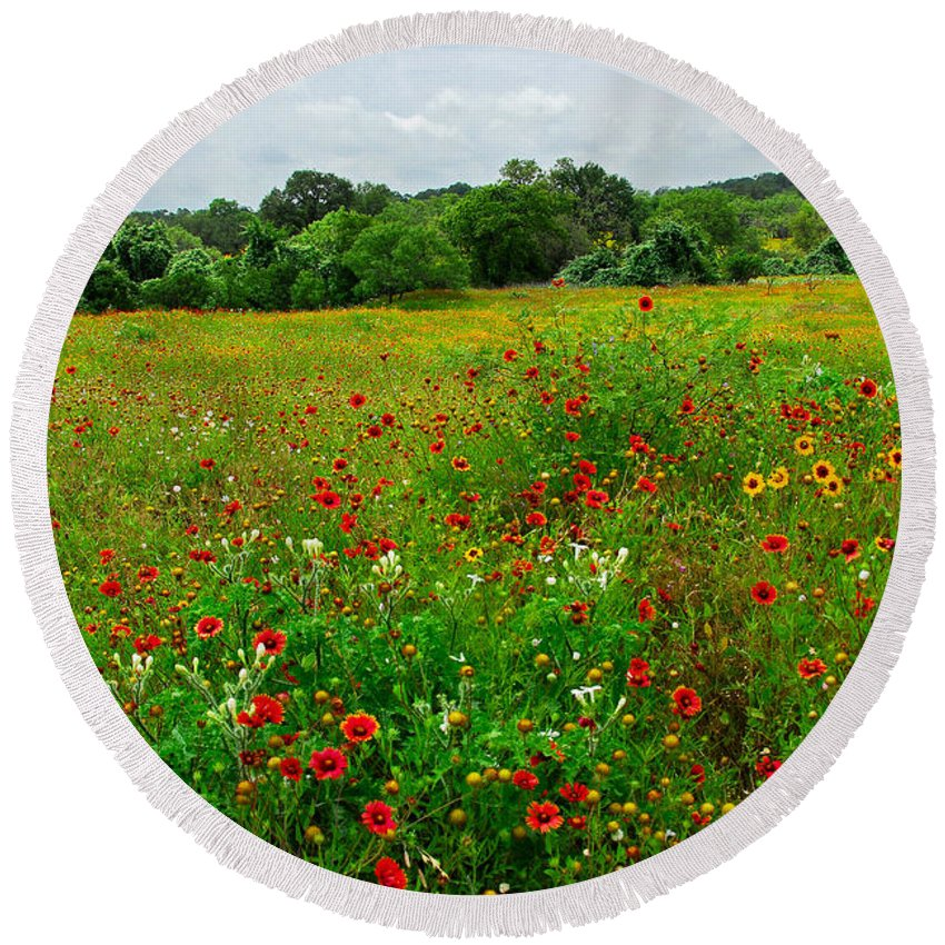 Wildflowers Round Beach Towel featuring the photograph Spring's Finest by Lynn Bauer