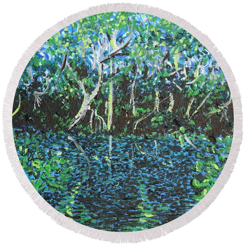Landscape Round Beach Towel featuring the painting Springtime In Wekiva by Stefan Duncan