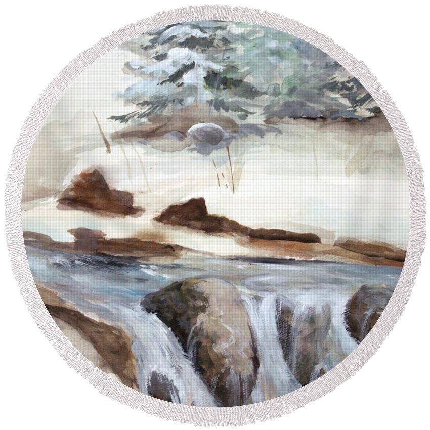 Rick Huotari Round Beach Towel featuring the painting Springtime by Rick Huotari