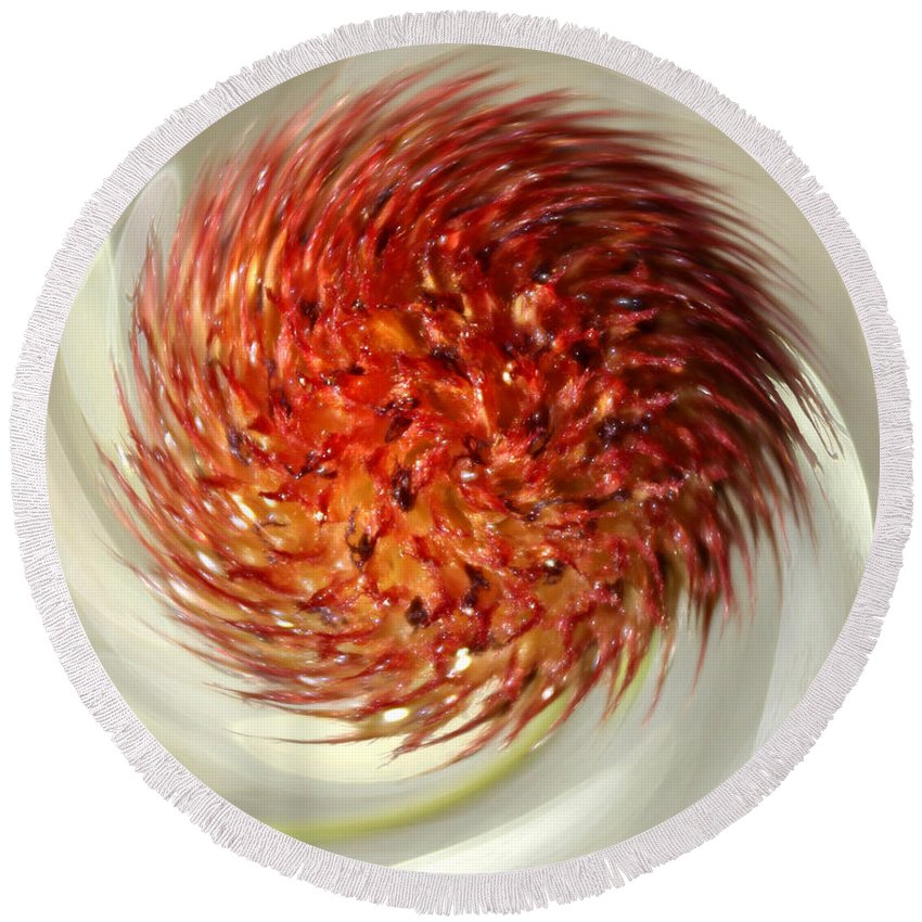 Orange Flower Round Beach Towel featuring the photograph Spun Nature by Krissy Katsimbras