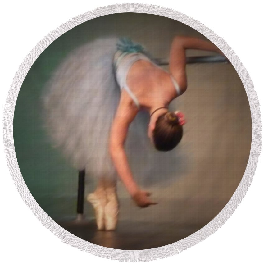 Ballerina Round Beach Towel featuring the painting Sq Oil Bending At The Bar by Dale Crum
