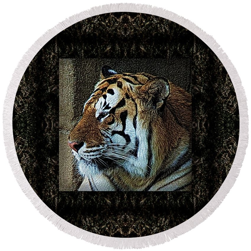 Tiger Round Beach Towel featuring the photograph Sq Tiger Profile 6k X 6k Bboo Matt by Dale Crum