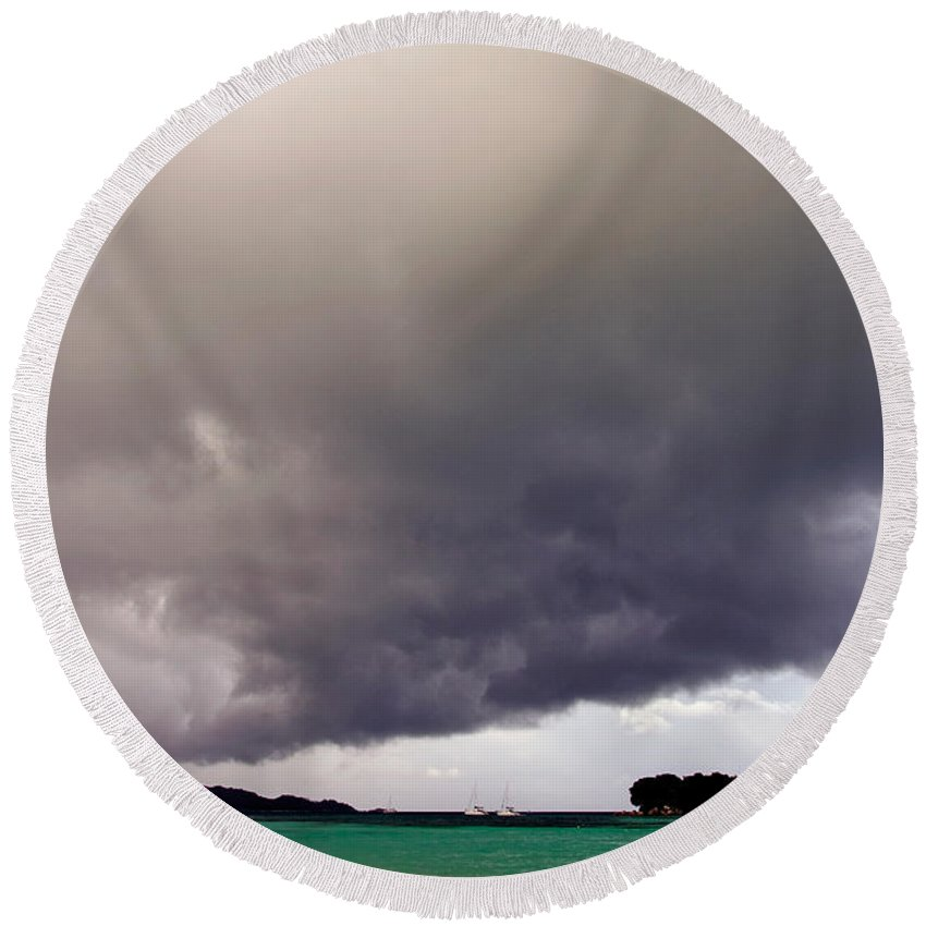 Nature Round Beach Towel featuring the photograph Squall Over The Bay, The Seychelles by Tim Holt