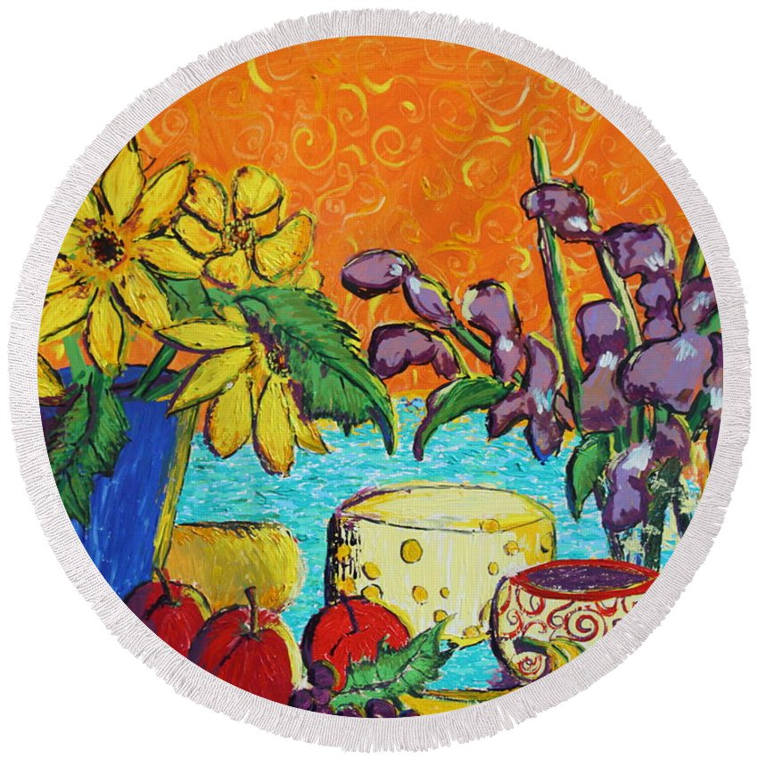 Van Gogh Round Beach Towel featuring the painting Squigglenick by Stefan Duncan