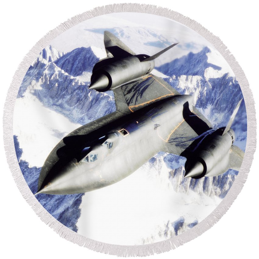 Sr-71b Round Beach Towel featuring the photograph Sr-71 Over Snow Capped Mountains by R Muirhead Art