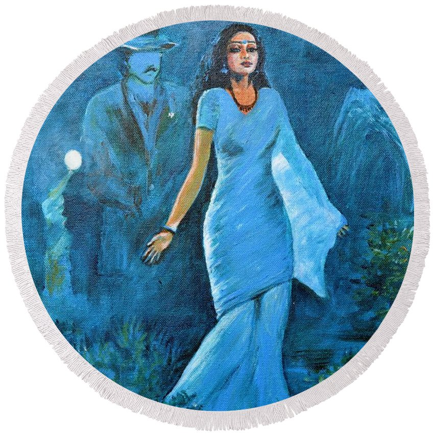 Sridevi Round Beach Towel featuring the painting Sridevi by Usha Shantharam