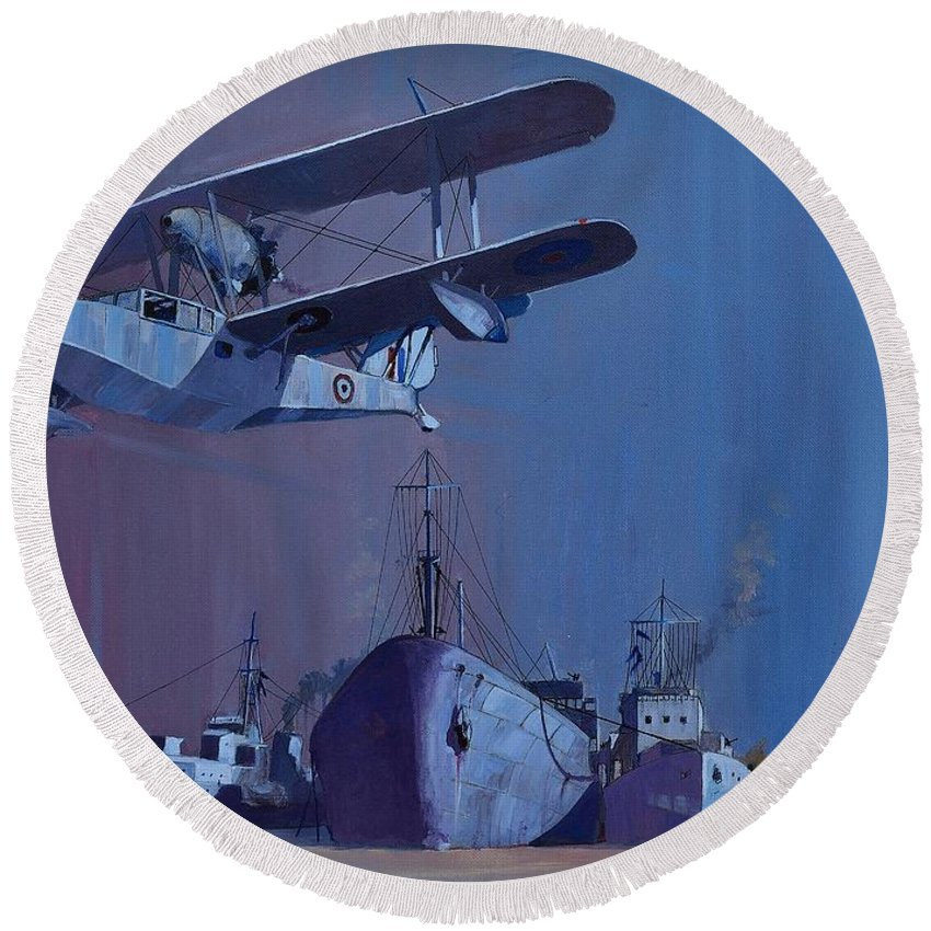 Sea Round Beach Towel featuring the painting Ss Ohio by Ray Agius