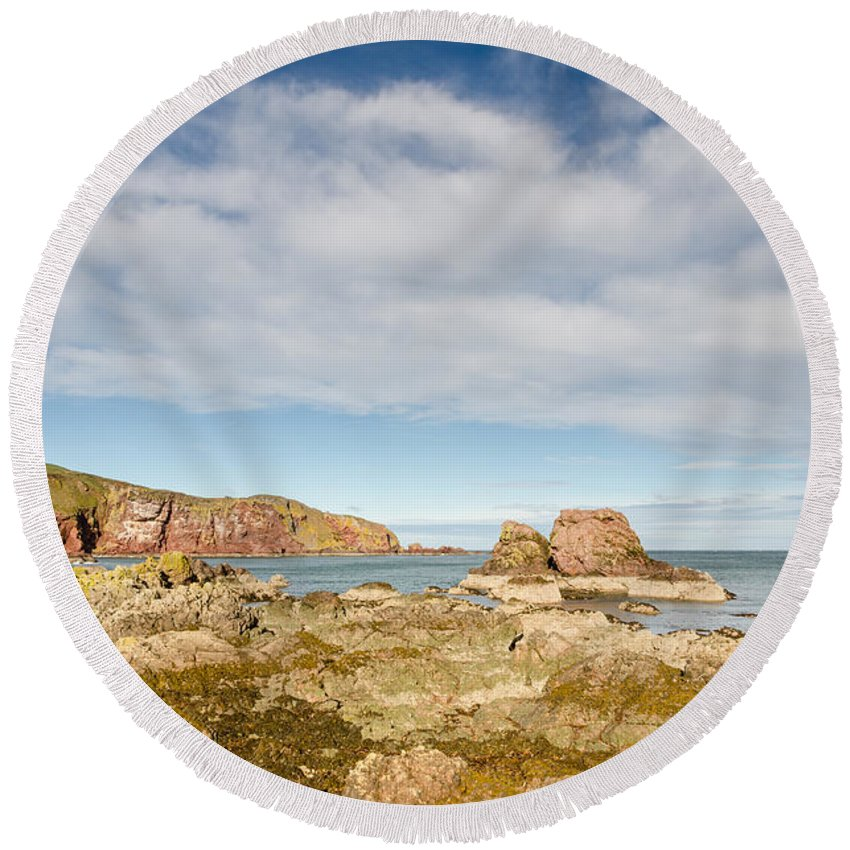 Bay Round Beach Towel featuring the photograph St Abbs Rocky Shoreline by David Head