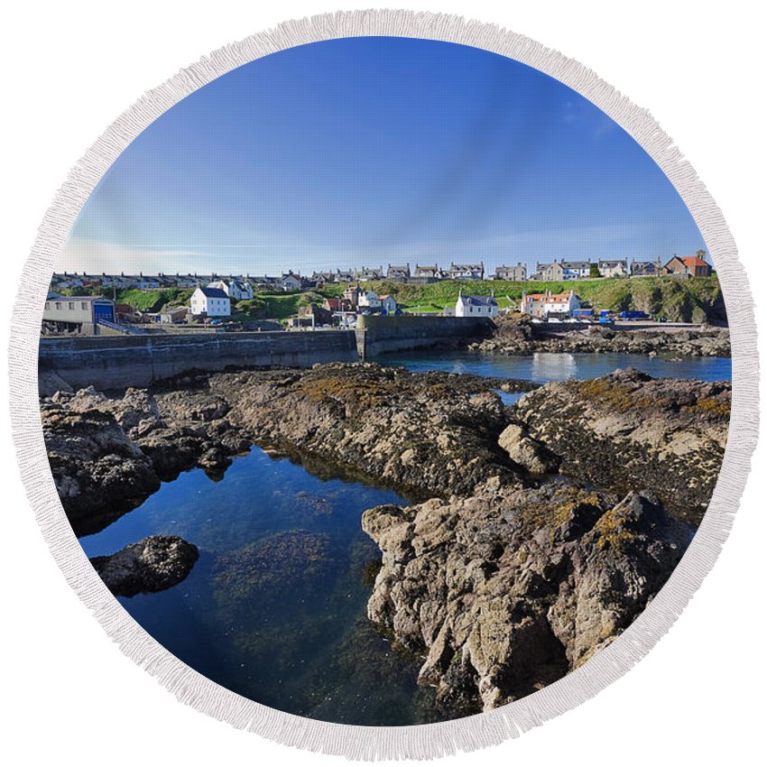 Travel Round Beach Towel featuring the photograph St Abbs Scotland by Louise Heusinkveld