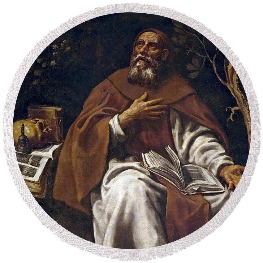 Luis Tristan De Escamilla Round Beach Towel featuring the painting St Anthony Abbot by Luis Tristan de Escamilla