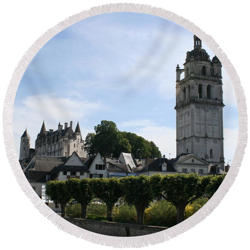 View Round Beach Towel featuring the photograph St. Antoine Tower And The Chateau De Loches by Christiane Schulze Art And Photography