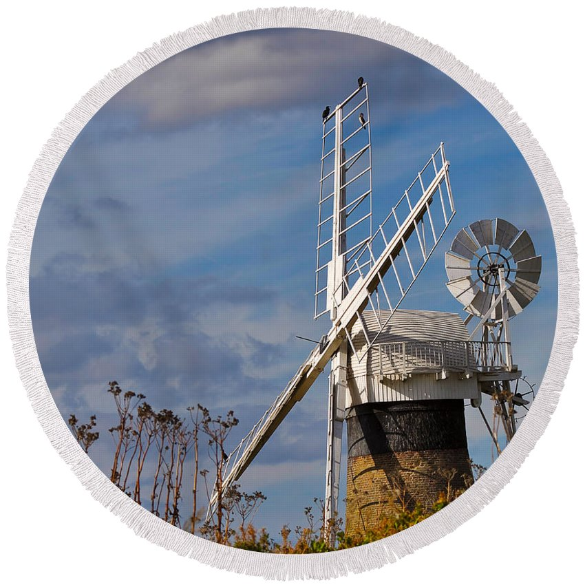 Travel Round Beach Towel featuring the photograph St Benets Drainage Mill Norfolk by Louise Heusinkveld