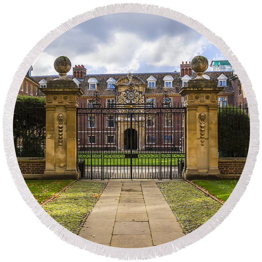 Architecture Round Beach Towel featuring the photograph St Catharine S College by Svetlana Sewell