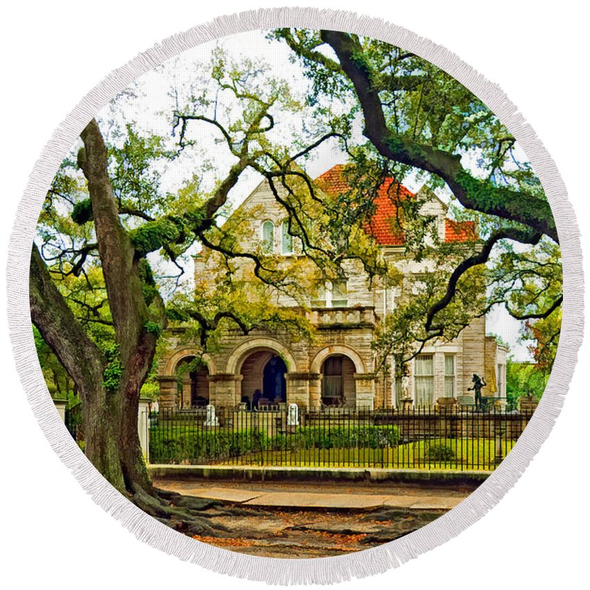 Home Round Beach Towel featuring the photograph St. Charles Ave. Mansion Paint by Steve Harrington